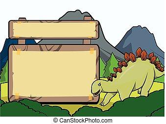 Prehistoric animal scene with blank