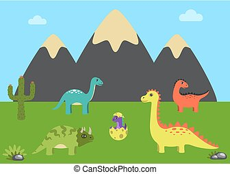Prehistoric Animals and Nature Vector Illustration