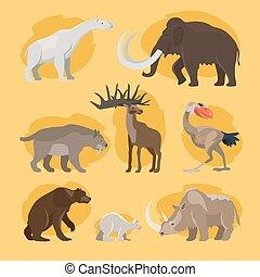 Prehistoric animals cartoon icons