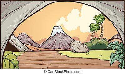 Prehistoric background - Cartoon prehistoric background. ...