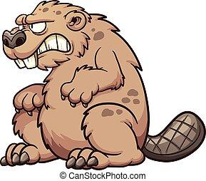 Prehistoric beaver - Prehistoric monster beaver. Vector clip...