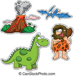 set of cartoons related to the prehistoric age