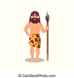 Prehistoric caveman in animal skin holding spear, Stone Age character vector Illustration on a white background