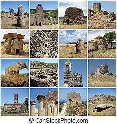 collage with ancient landmarks of mediterranean cultural heritage of Sardinia, Italy, Europe