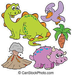 Prehistoric collection on white background - vector...