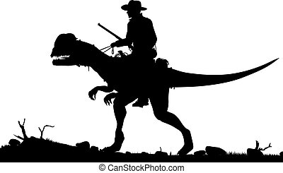 Editable vector silhouette of a cowboy riding a Dilophosaurus dinosaur as separate objects