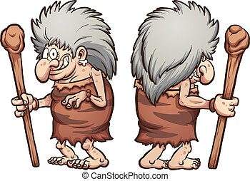 Cartoon prehistoric grandma, front and back. Vector clip art illustration with simple gradients, each on a separate layer.
