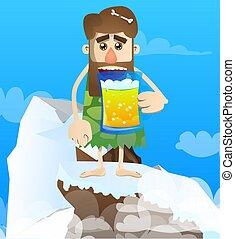 Prehistoric man drinking beer.