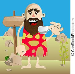 Prehistoric man drinking coffee.