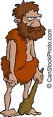 Prehistoric man on a white background vector illustration