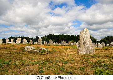 Prehistoric megalithic menhirs alignment in Carnac, Brittany, France