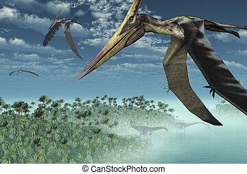 Prehistoric Morning - Flying Overhead - Three Pteranodon...