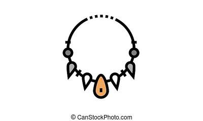 prehistoric necklace animated color icon. prehistoric necklace sign. isolated on white background