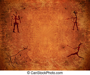 prehistoric paint on brown grunge background
