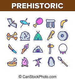 Prehistoric Primitive Collection Icons Set Vector