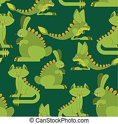 Prehistoric rabbit dinosaur seamless pattern. Dino cat ornament. Raptor jerboa monster texture. Background for childrens cloth. Jurassic Animals Set