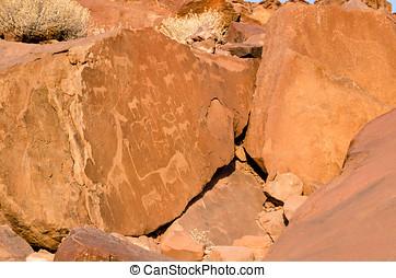 Prehistoric rock engravings
