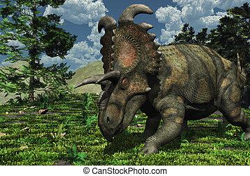 Prehistoric Scene with Albertaceratops - Prehistoric scene...