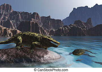 Prehistoric Scene with Eryops - The Eryops was a prehistoric...