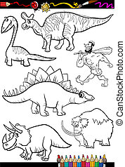 prehistoric set for coloring book - Coloring Book or Page...