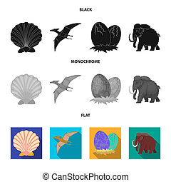 Prehistoric shell, dinosaur eggs, pterodactyl, mammoth. Dinosaur and prehistoric period set collection icons in black, flat, monochrome style bitmap symbol stock illustration web.