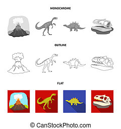 Prehistoric shell, dinosaur eggs, pterodactyl, mammoth. Dinosaur and prehistoric period set collection icons in flat, outline, monochrome style bitmap symbol stock illustration web.