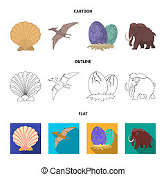 Prehistoric shell, dinosaur eggs, pterodactyl, mammoth. Dinosaur and prehistoric period set collection icons in cartoon, outline, flat style bitmap symbol stock illustration web.