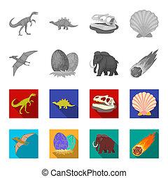 Prehistoric shell, dinosaur eggs, pterodactyl, mammoth. Dinosaur and prehistoric period set collection icons in monochrome, flat style bitmap symbol stock illustration web.