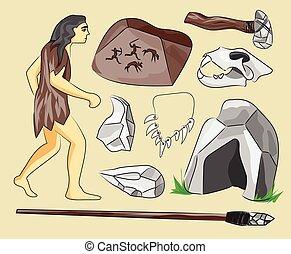 Prehistoric stone age icons set