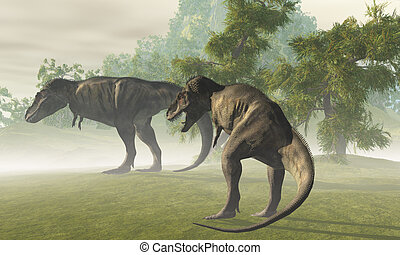 PREHISTORIC T-REX - Two Tyrannosaurus Rex dinosaurs rest in...