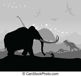 Hunting of animals during prehistoric times. A vector illustration