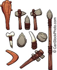 Prehistoric weapons. Vector clip art illustration with ...