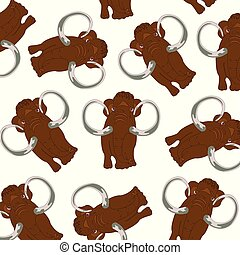 Prehistorical animal mammoth pattern on white background -...
