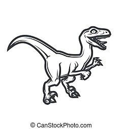 Prehistorical dino Logo concept. Raptor insignia design. Jurassic dinosaur illustration. T-shirt concept on white background.