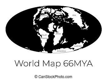 prehistorisch, worldmap, vrijstaand, 66mya., projection.,...
