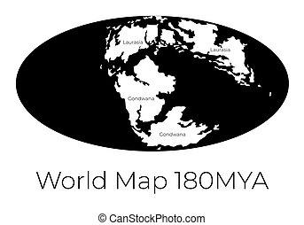 prehistorisch, worldmap, vrijstaand, projection., witte ,...