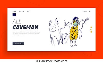 Prehistory Period of Human Landing Page Template. Cave Woman Character Wearing Skin Rocking Little Newborn Baby on Hands front of Ancient Coal Paintings of Hoofed Animals. Linear Vector Illustration