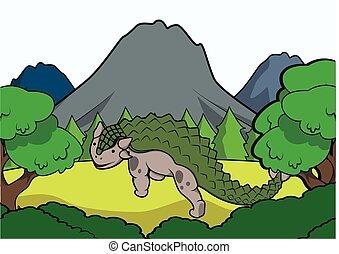prehistoryczny, scena, anklysaurus