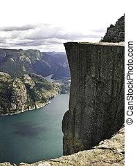 Preikestolen fjord - Preikestolen pulpit-rock view in Norway...