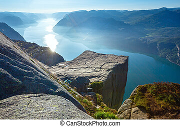 Preikestolen massive cliff top (Norway) - Preikestolen...