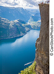 Preikestolen, Pulpit Rock at Lysefjorden (Norway). A well known tourist attraction