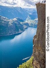 Preikestolen,Pulpit Rock at Lysefjorden (Norway). A well...