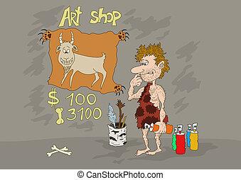 Preistorico cartone animato uomo. preistorico illustration