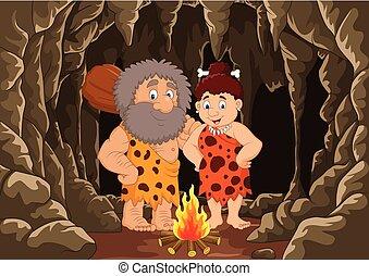 preistorico, caveman, caverna, cartone animato, fondo, coppia