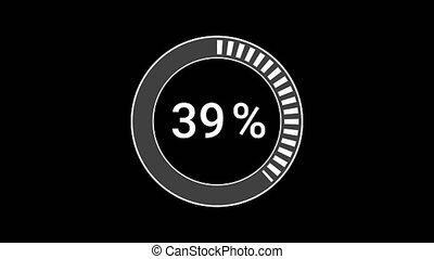 Preloader loading or download. Circle progress bar icon in the form of white blinking lines on a black background. Downloading - 1 to 100 percentage