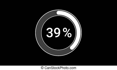 Preloader loading or download. Circle Ring bar symbol percent 1 to 100 percent flat animation icon design isolated on black background. Graphics motion flat lay design concept