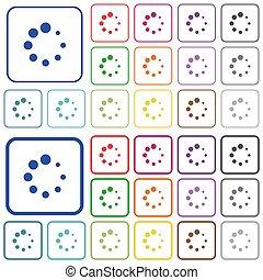 Preloader symbol outlined flat color icons