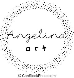 Premade logo design with dotted wreath. Feminine logotype...