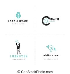Premade logo templates. Vector set of colored hand drawn...