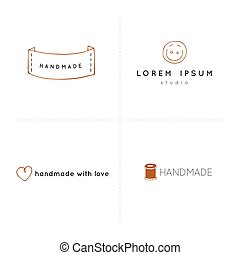 Premade vector logo templates. Hand drawn isolated elements,...